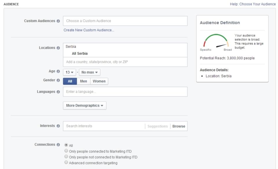 Facebook oglašavanje: Odabir ciljne gurpe