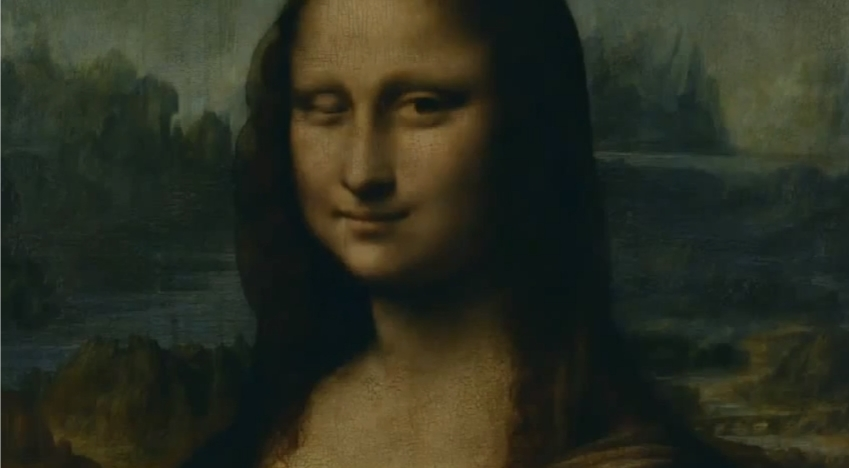 Mona Lisa winks Orange