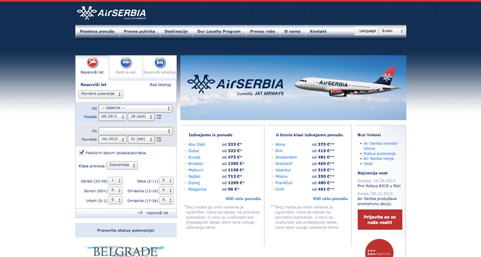air serbia web page