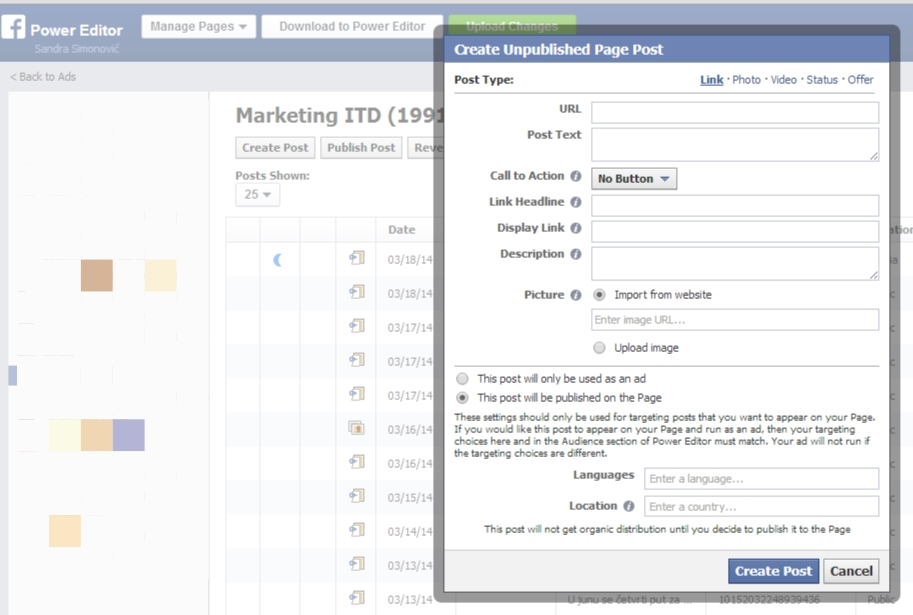 create unplublished page post facebook ads call to action