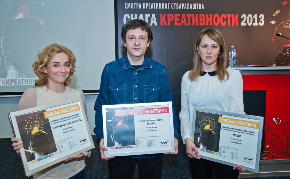 Tim agencije McCann Beograd - Milena Kvapil, Vladimir Cosic i Olivera Perkovic