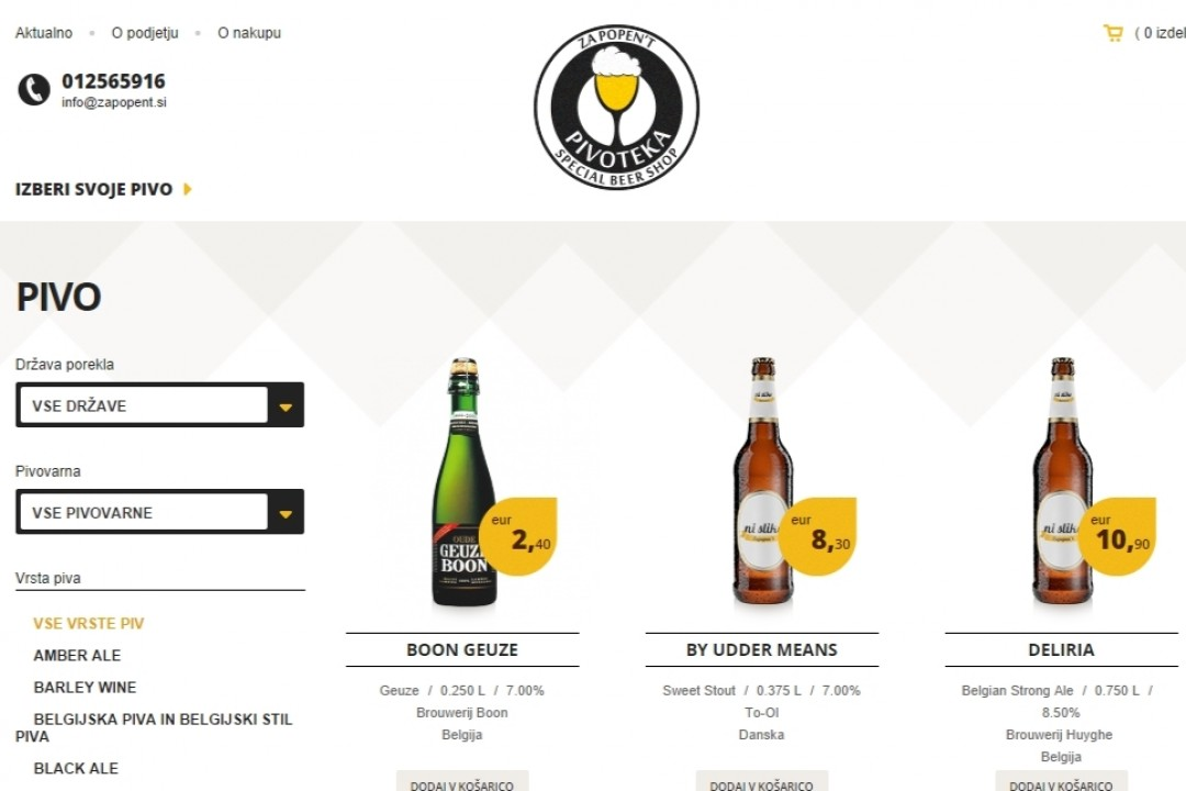 U Ljubljani otvorena internet prodavnica piva