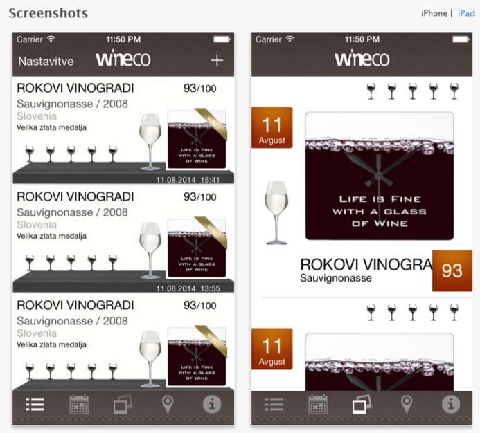 wineco iphone screenshots