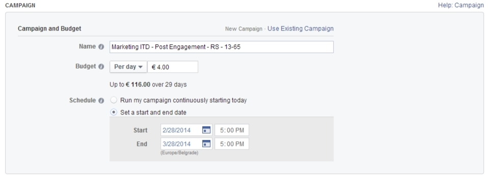 Facebook oglašavanje: Određivanje budžeta