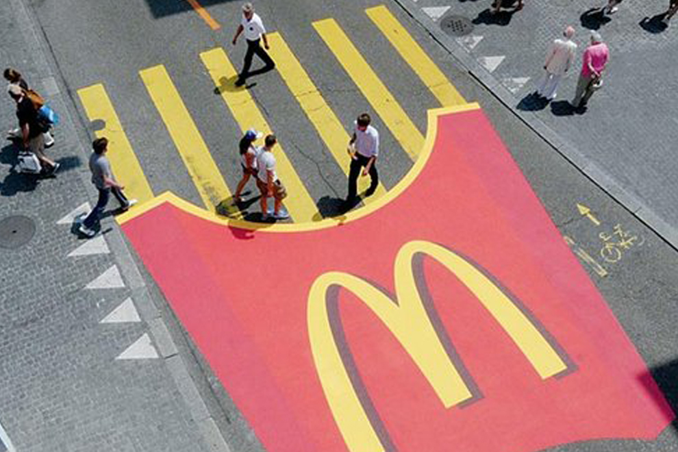 mc donalds walk pedestrians zebra