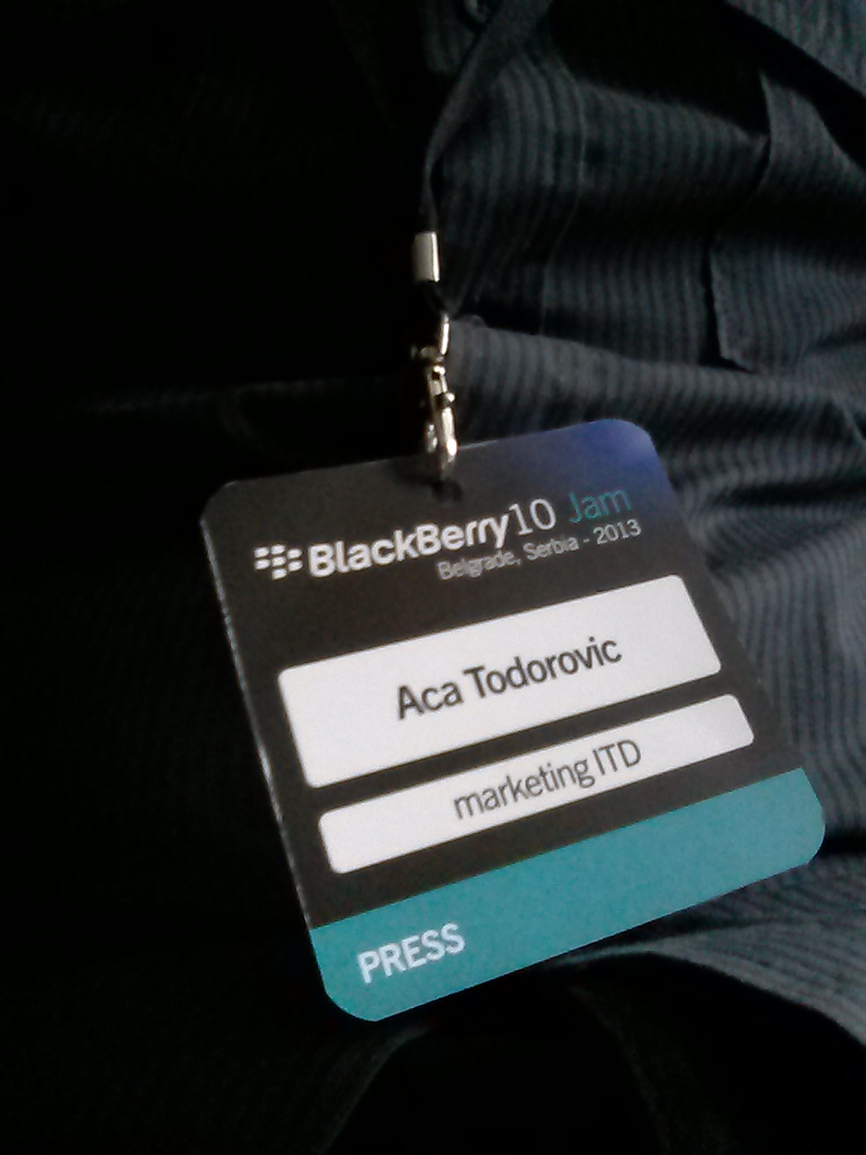 BlackBerry 10 mini Jam Belgrade press card