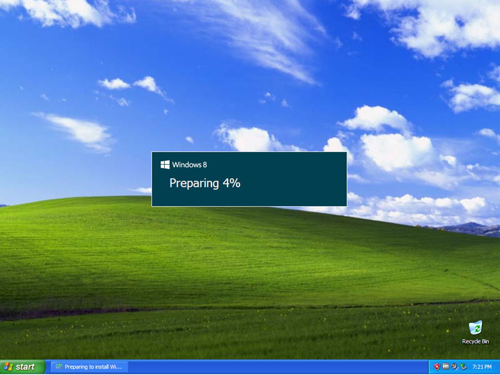Windows XP Windows 8 preparing