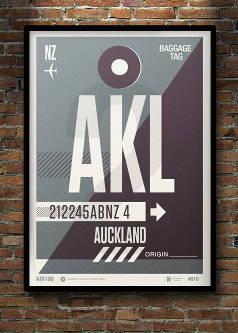 Flight Tag Print AKL