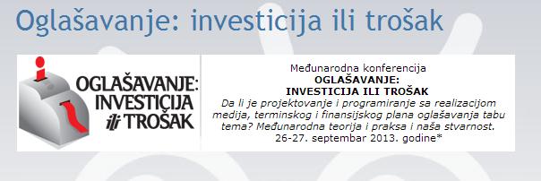 Oglašavanje investicija ili trošak Marketing Magazin e Taboo